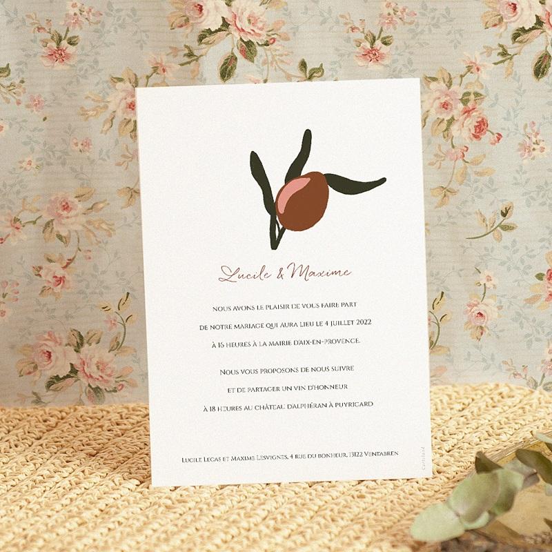 Faire-Part Mariage Olives dorées stylisées, 15 x 21 cm pas cher