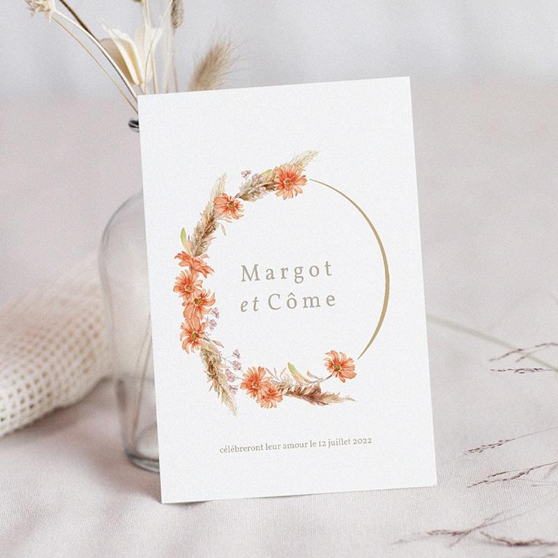 Faire-Part Mariage Couronne & Fleurs Solsticiales