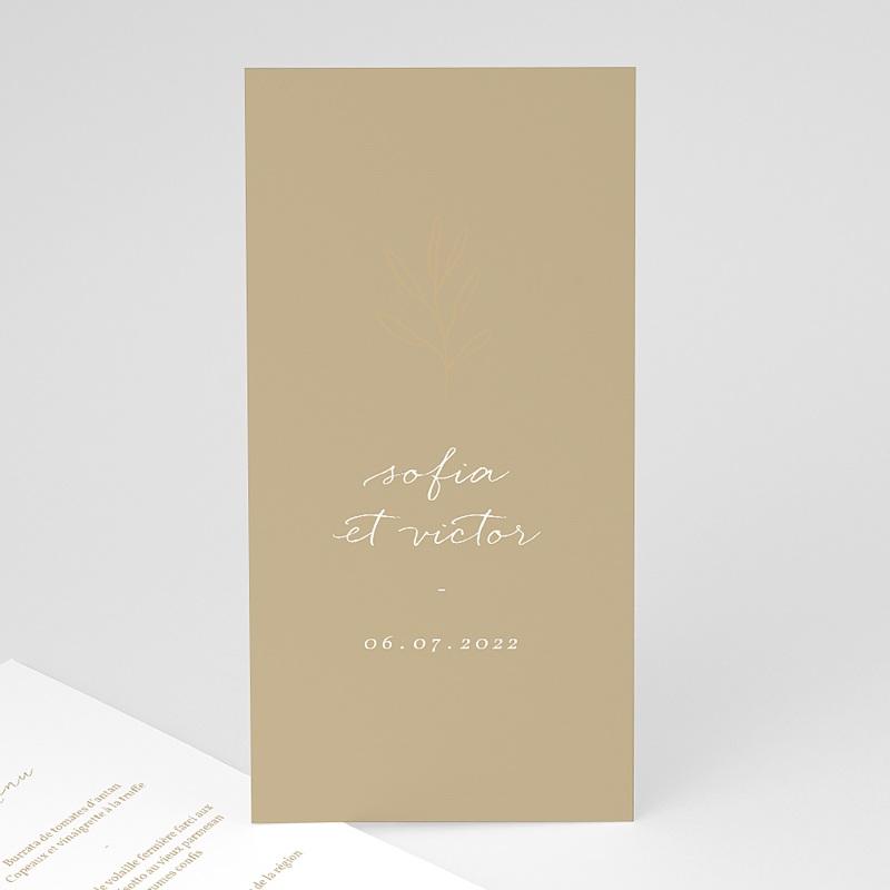 Menu Mariage Brin minimaliste, Bicolore, 10 x 21 cm
