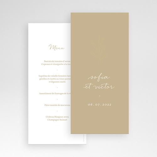 Menu Mariage Brin minimaliste, Bicolore, 10 x 21 cm pas cher