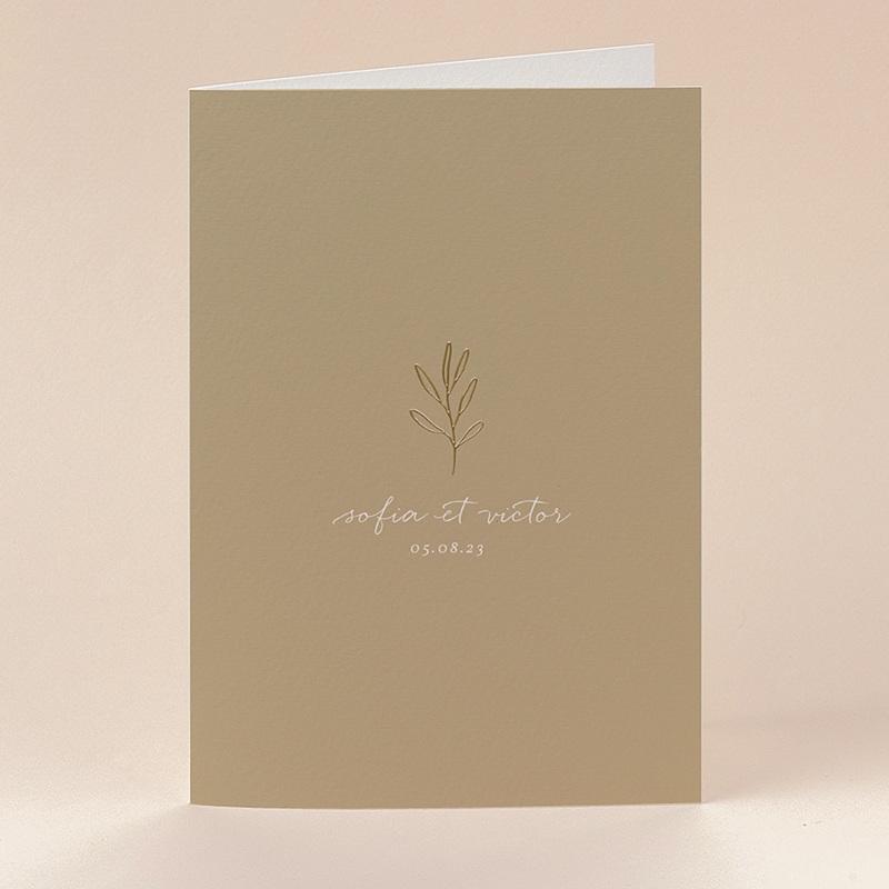 Faire-Part Mariage Brin minimaliste, Beige doré, 12 x 17 cm