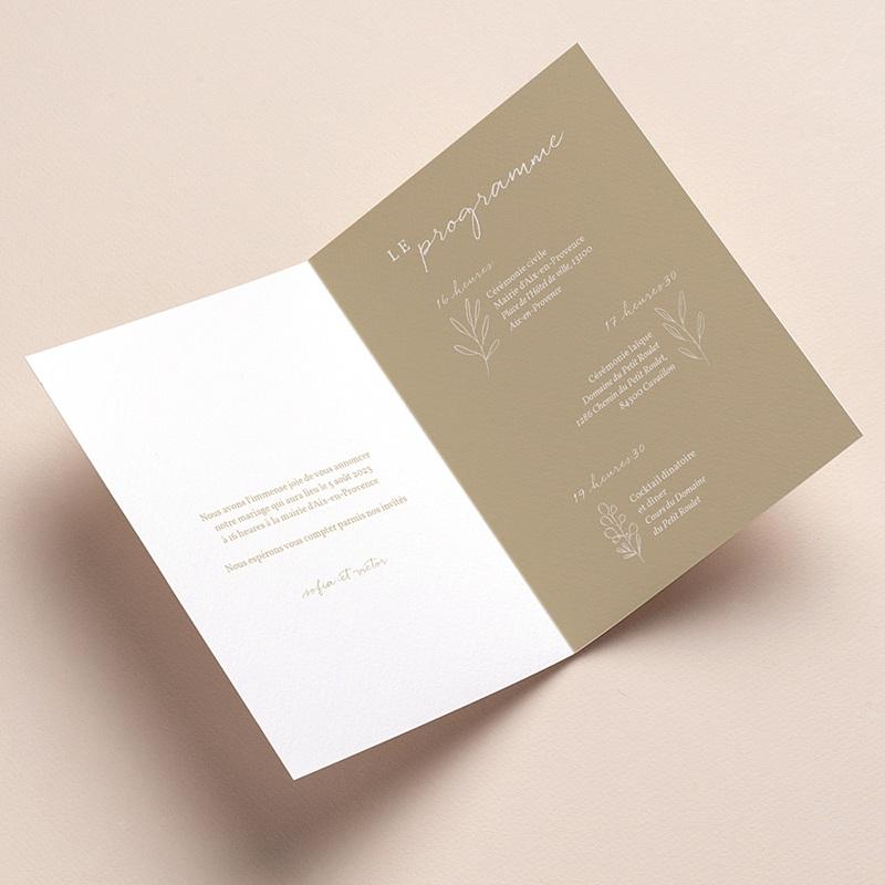 Faire-Part Mariage Brin minimaliste, Beige doré, 12 x 17 cm pas cher