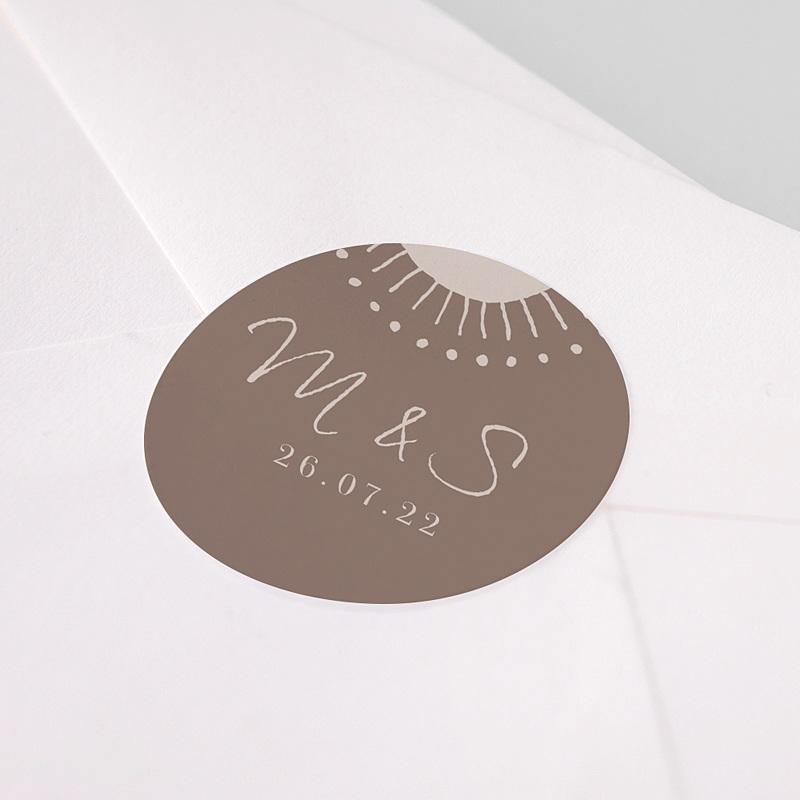 Etiquette Autocollante Mariage Soleil Couchant, 4,5 cm pas cher