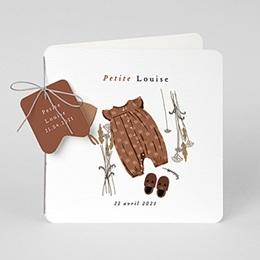 Faire-Part Naissance - Garde-robe, Bonnet Béguin brun - 0