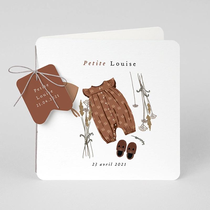 Faire-Part Naissance Garde-robe, Bonnet Béguin brun