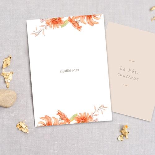 Faire-Part Mariage Couronne & Fleurs Solsticiales, 3 en 1