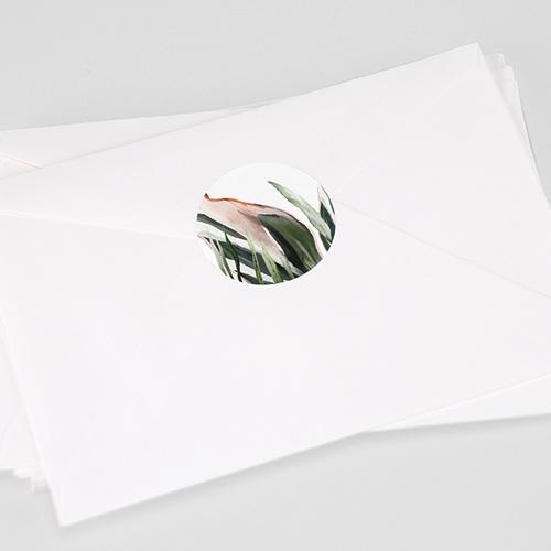 Etiquette Autocollante Mariage Végétal en Miroir, 4,5 cm