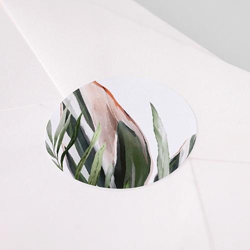 Etiquette Autocollante Mariage Végétal en Miroir, 4,5 cm pas cher