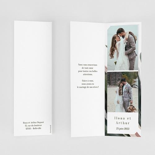 Carte Remerciement Mariage Végétal en Miroir, 2 en 1 gratuit