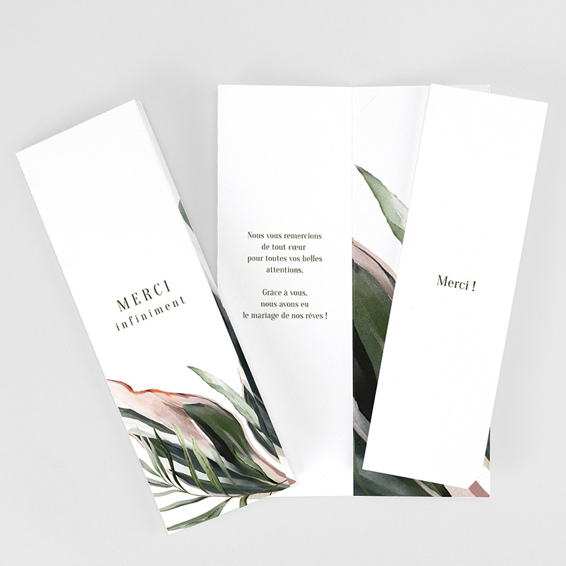 Carte Remerciement Mariage Végétal en Miroir, 2 en 1