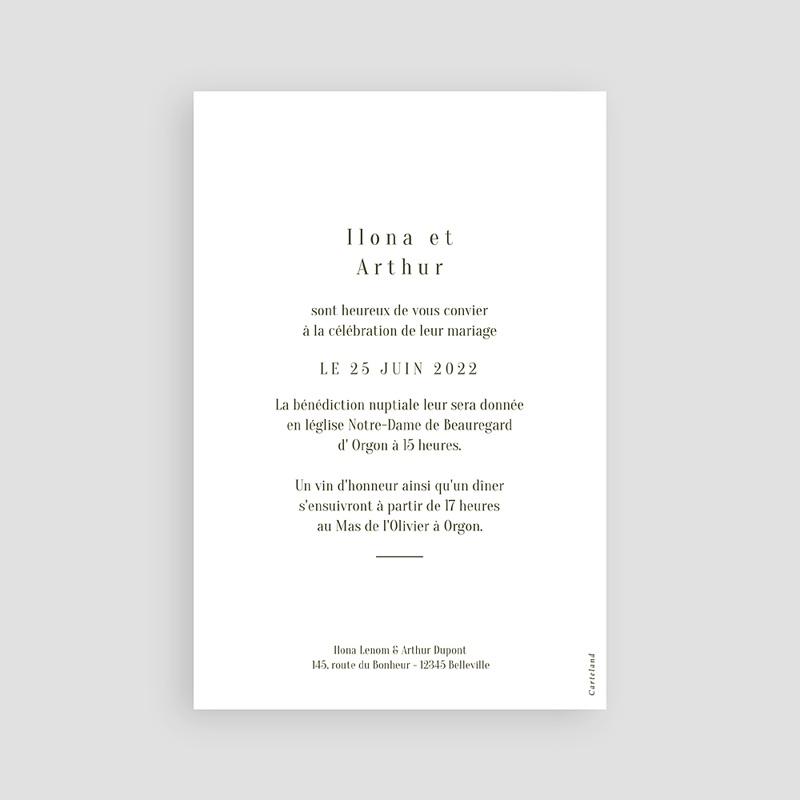 Faire-Part Mariage Végétal en miroir, 10 x 15 cm pas cher
