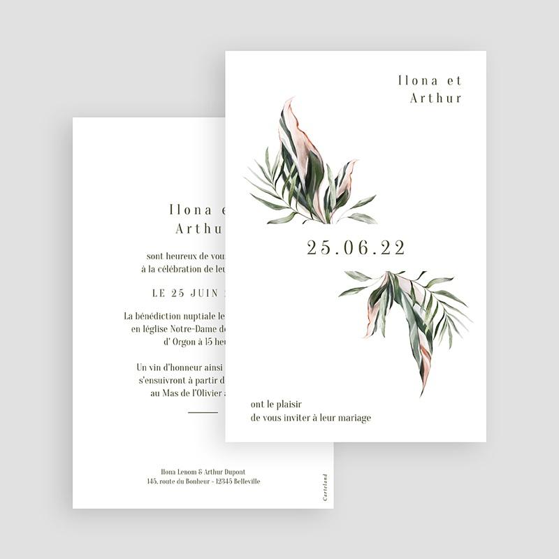Faire-Part Mariage Végétal en miroir, 10 x 15 cm gratuit