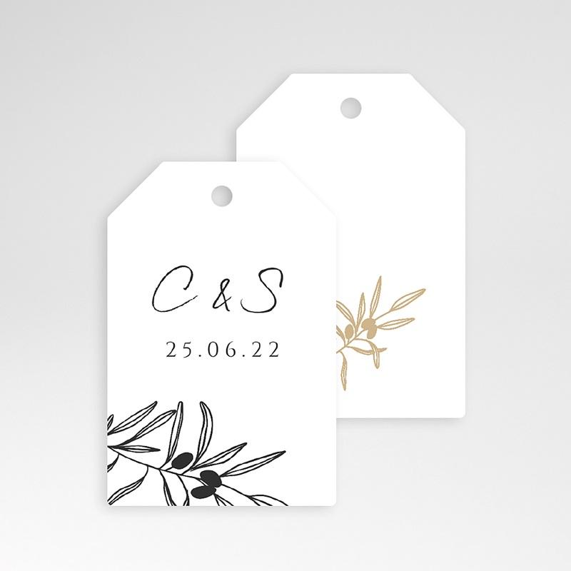 Etiquette Cadeau Mariage L'olivier doré, 6 x 4 pas cher
