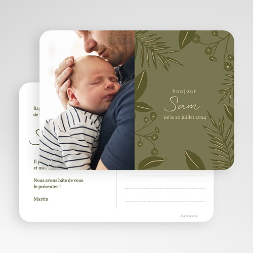 Faire-Part Naissance Jungle dorée, Style carte Postale, 17,7 x 12,7 cm gratuit