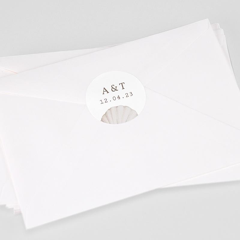 Etiquette Autocollante Mariage Coquillage épuré, 4,5 cm