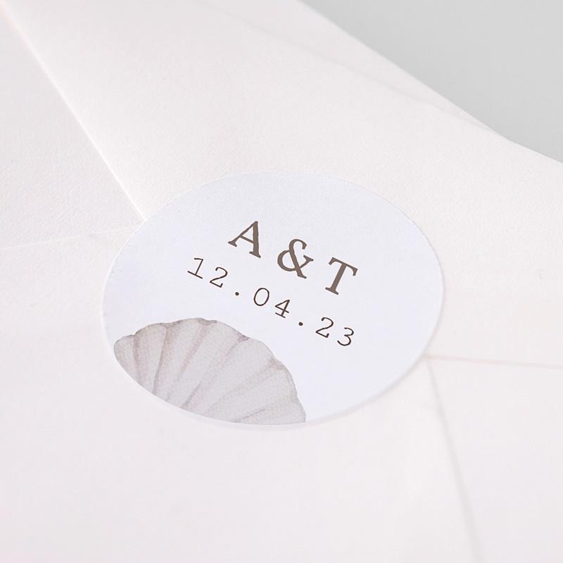 Etiquette Autocollante Mariage Coquillage épuré, 4,5 cm pas cher