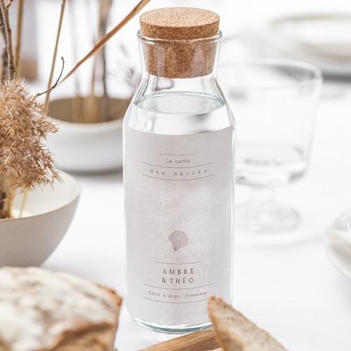 Etiquette Bouteille Mariage Coquillage épuré, Vin gratuit