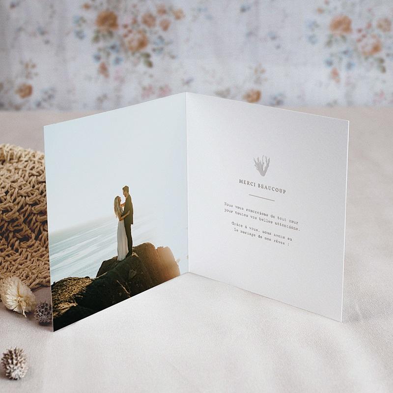 Carte Remerciement Mariage Coquillage épuré, 2 volets pas cher