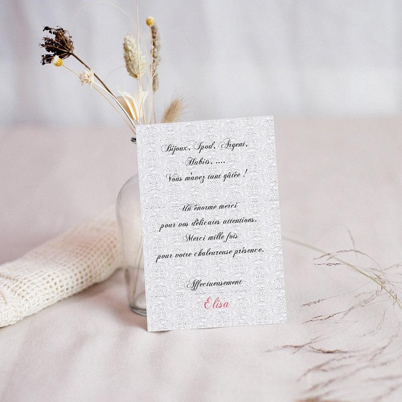 Carte Remerciement Communion Fille Merci d'Elisa pas cher
