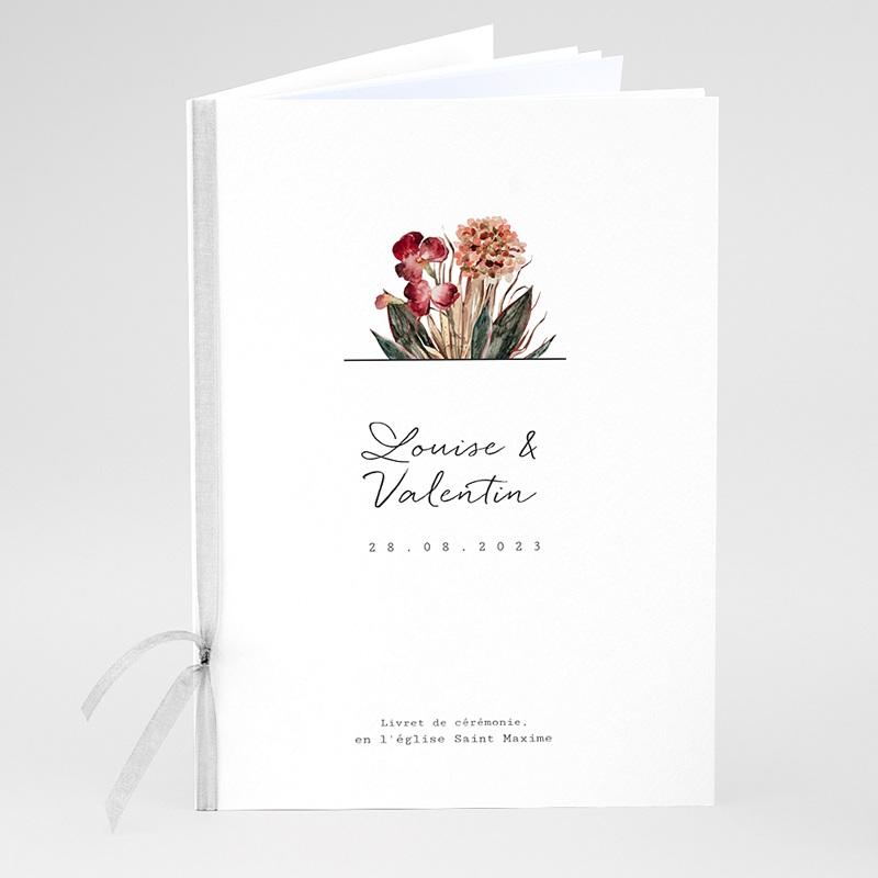 Livret Messe Mariage Bouquet Fleurs Rouges, Couverture 15x22 cm