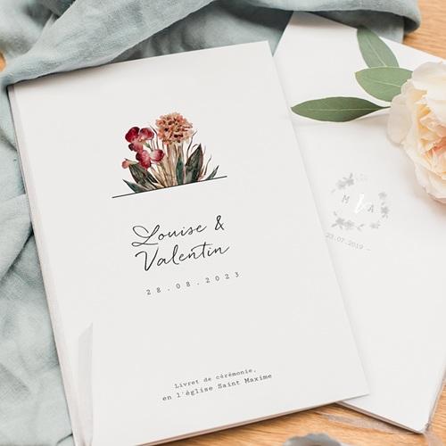 Livret Messe Mariage Bouquet Fleurs Rouges, Couverture 15x22 cm pas cher