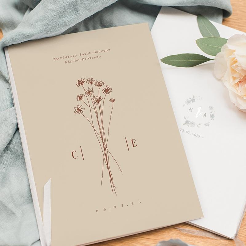 Livret Messe Mariage Silhouette Fleurs des Champs, Couverture pas cher