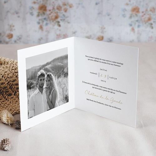 Faire-Part Mariage Laurel minimaliste, 2 volets, 14 x 14 pas cher