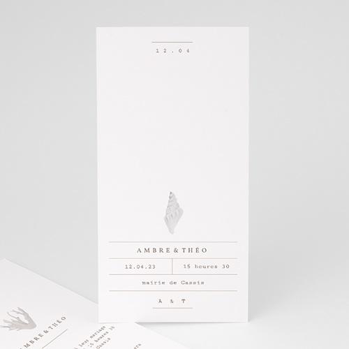 Faire-Part Mariage Coquillage épuré, 10 x 21 cm