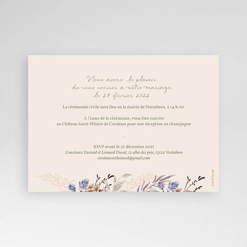 Faire-Part Mariage Douceur de fleurs & Kraft, 16,7 x 12 cm pas cher