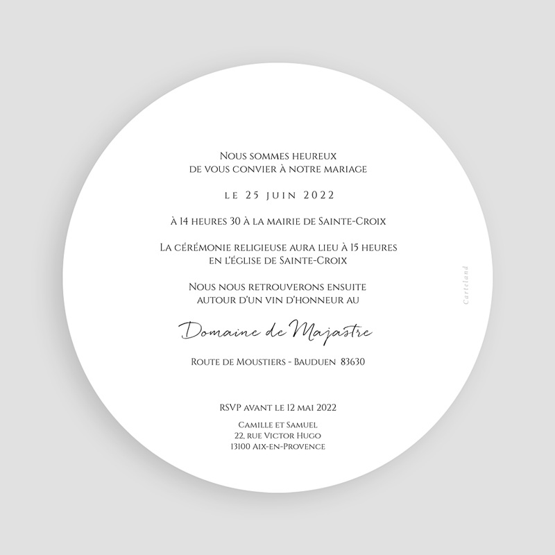 Faire-Part Mariage L'olivier doré, ø 14 cm pas cher
