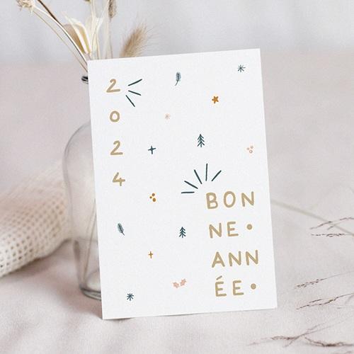 Carte de Voeux Motif festif & Année dorée