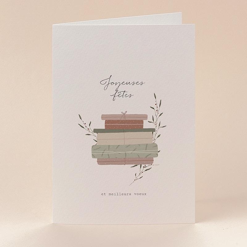 Carte de Voeux Cadeaux Vintage, Double volets 12 x 17 cm