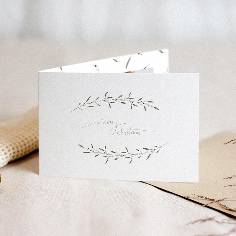 Carte de Voeux Demi-couronne de Noël, 15 x 10 cm
