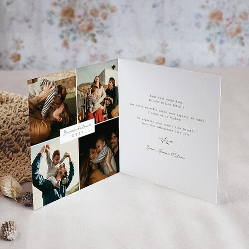 Carte de Voeux Couronne champêtre de Noël, 2 volets pas cher