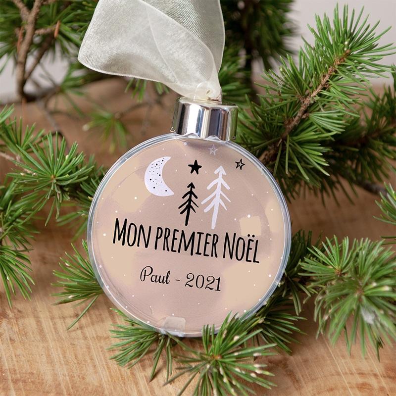 Boule Sapin Noël Personnalisée Mon Premier Noel Lune Etoile Sapin gratuit