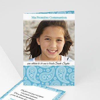 Faire-part communion fille Méditerranée au coeur à personnaliser