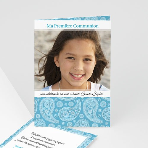 Faire-Part Communion Fille Méditerranée au coeur