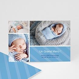 Carte remerciement naissance garçon  Gratitude Bleue