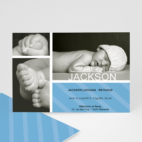 Faire-Part Naissance Garçon - Bonheur Bleu 1202 thumb
