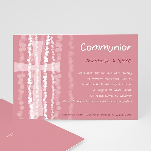 Faire-part communion fille Croix Contemporaine Rose
