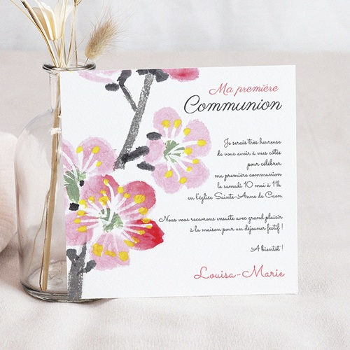 Faire-part communion fille Floraison de l'Esprit