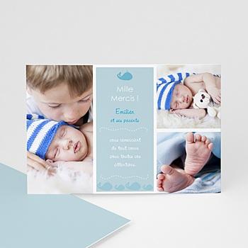 Carte de remerciement naissance garçon Emilien, la Baleine bleue