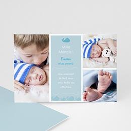 Carte remerciement naissance garçon Emilien, la Baleine bleue
