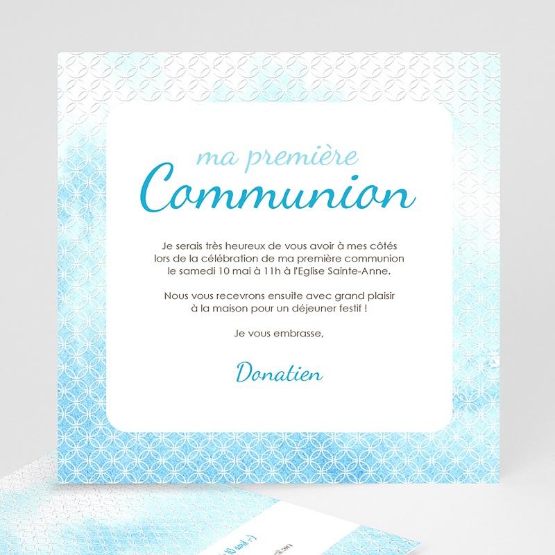 Faire-Part Communion Garçon Effet d'eau Bénite