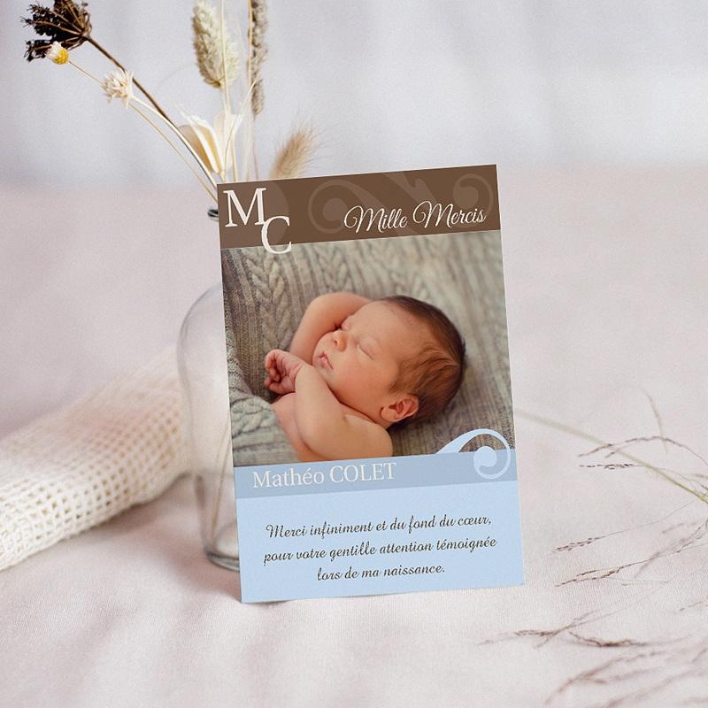 Carte remerciement naissance garçon Matt - Volute bleue