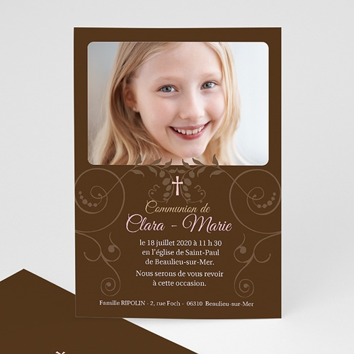 Faire-part Communion Fille - Baptismal Marron 12703