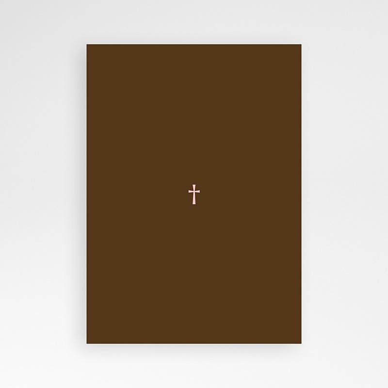 Faire-part communion fille Baptismal Marron pas cher