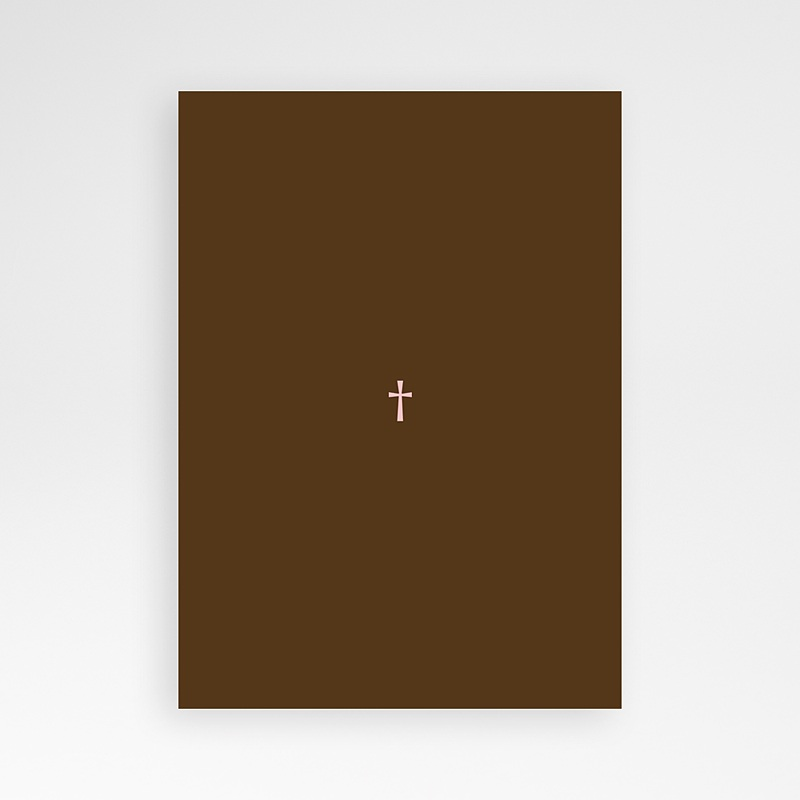 Faire-part Communion Fille - Baptismal Marron 12704 thumb