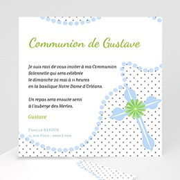 Faire-Part Communion Rosaire Bleu