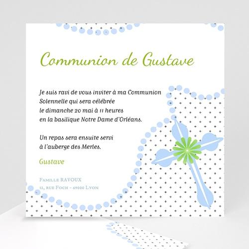 Faire-part Communion Garçon - Rosaire Bleu 12721